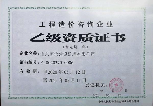 乙级资质证书